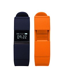 iFitness Activity Tracker with Navy Textured Strap and Bonus Orange Textured Strap