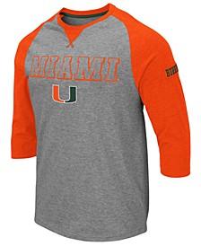Men's Miami Hurricanes Team Patch Three-Quarter Sleeve Raglan T-Shirt