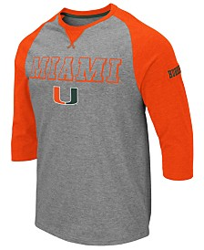 Colosseum Men's Miami Hurricanes Team Patch Three-Quarter Sleeve Raglan T-Shirt