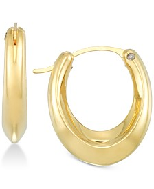 Signature Gold Diamond Accent Elongated Oval Hoop Earrings in 14k Gold Over Resin, Created for Macy's