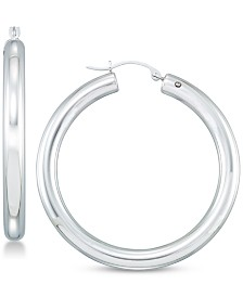 Signature Gold Diamond Accent Hoop Earrings in 14k White Gold Over Resin, Created for Macy's