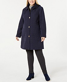 Plus Size Quilted Hooded Coat