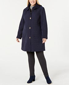 Jones New York Plus Size Quilted Hooded Coat