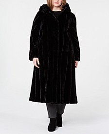 Plus Size Hooded Faux-Fur Maxi Coat