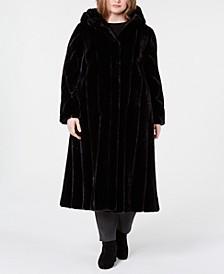 Plus Size Hooded Faux-Fur Maxi Coat