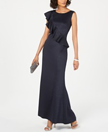 Jessica Howard Ruffled Glitter Gown