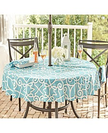 """Chase Geometric Stain Resistant Indoor Outdoor 70"""" Round Umbrella Tablecloth"""