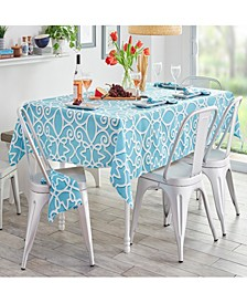 """Chase Geometric Stain Resistant Indoor Outdoor 60""""X84"""" Tablecloth"""