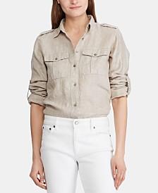 Lauren Ralph Lauren Metallic Utility-Inspired Linen Shirt