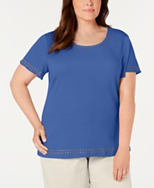 Karen Scott Plus Size Studded Top, Created For Macy's