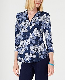 Petite Global V-Neck Top, Created for Macy's