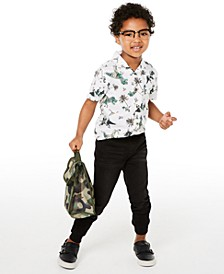 Little Boys Dino-Print Camp Shirt & Stretch Knit Denim Jogger Pants, Created for Macy's