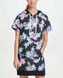 DKNY Sport Printed Short-Sleeve Hoodie Dress