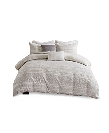 Urban Habitat Lizbeth Full/Queen 5 Piece Cotton Clip Jacquard Duvet Cover Set