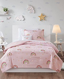 Alicia Twin 6 Piece Rainbow with Metallic Printed Stars Complete Bed and Sheet Set
