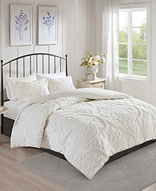 Viola 3-Pc. Tufted Cotton Chenille Damask Duvet Cover Sets