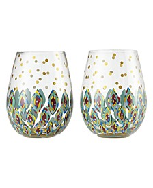 Lolita Floral Stemless Wine Glass - Set of 2