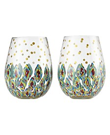 Enesco Lolita Floral Stemless Wine Glass - Set of 2