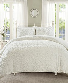 Sabrina King/California King 3 Piece Tufted Cotton Chenille Duvet Cover Set