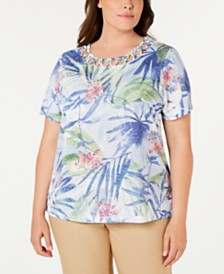 Alfred Dunner Plus Size The Summer Wind Printed Cutout Top
