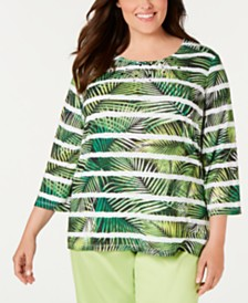 Alfred Dunner Plus Size Cayman Islands Printed Embellished Top