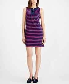 Petite Striped Lace-Up Shift Dress, Created for Macy's