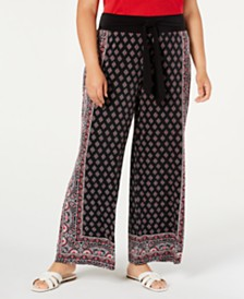 I.N.C. Plus Size Border-Print Tie-Waist Pants, Created for Macy's