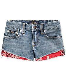 Little Girls Bandanna-Trim Cotton Denim Shorts