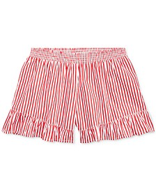 Big Girls Striped Ruffled Cotton Shorts