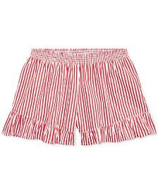 Polo Ralph Lauren Big Girls Striped Ruffled Cotton Shorts