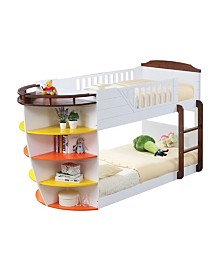 Neptune Twin Over Twin Bunk Bed with Storage Shelves