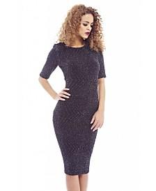 AX Paris Metallic Fitted 3/4 Sleeve Dress
