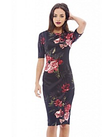 Short Sleeved Floral Midi Dress