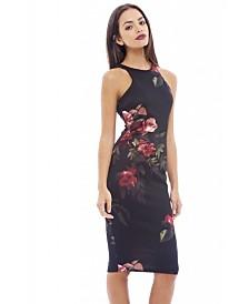 AX Paris Cut in Detail Neck Floral Printed Midi Dress