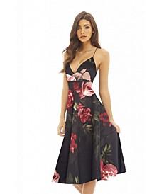 Strappy Floral Midi Skater Dress