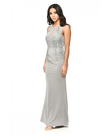 AX Paris Floor Length Fitted Dress with Lace Detail