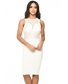 AX Paris Sheer Top Bodycon Dress with Lace Detail