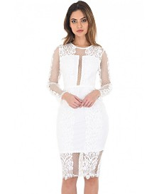 AX Paris Long Sleeve Lace Midi Dress