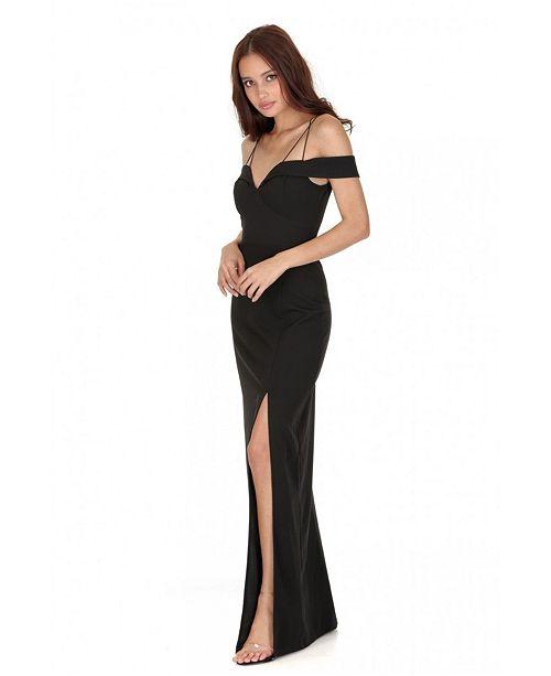 AX Paris Strappy Off the Shoulder Side Split Maxi Dress