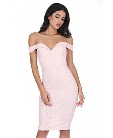 AX Paris Off the Shoulder Strappy Lace Midi Dress