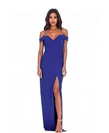 Strappy Off the Shoulder Side Split Maxi Dress