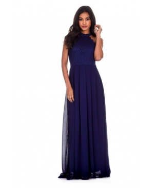 Lace Choker Neck Maxi Dress In Navy