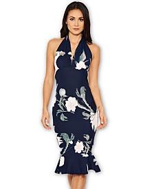 AX Paris Floral Backless Fishtail Midi Dress