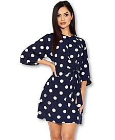 Polka Dot Wrap Mini Dress with Tie Front