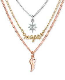 "RACHEL Rachel Roy Tri-Tone Magic Three-Row Pendant Necklace, 16"" + 2"" extender"