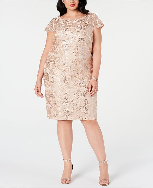 Plus Size Embellished Embroidered Sheath Dress