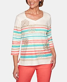 Coastal Drive Striped Embroidered Top