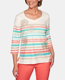Alfred Dunner Coastal Drive Striped Embroidered Top