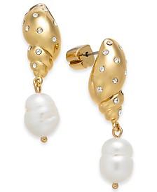 kate spade new york Gold-Tone Pavé Shell & Imitation Pearl Drop Earrings