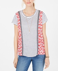 Style & Co Petite Mixed-Print Striped T-Shirt Created for Macy's